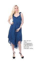36 Units of Rayon Cape Dress Enzyme Wash Ruffled Sleeve And Neck - Womens Sundresses & Fashion