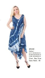 48 Units of Rayon Dress Enzyme Denim Wash With Tie Dye - Womens Sundresses & Fashion