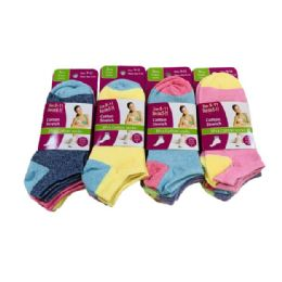 60 Units of Ladies/Teen Low-Cut Anklets 9-11[Two Tone] - Womens Ankle Sock
