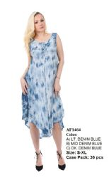 36 Units of Rayon Dress Enzyme Wash With Tie Dye - Womens Sundresses & Fashion