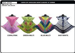 48 Units of Rayon Crepe Tie Dye Off Shoulder Dress - Womens Sundresses & Fashion