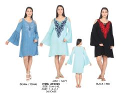 36 Units of Rayon Dress Three Quarter Sleeve Cold Shoulder With Heavy Embroider - Womens Sundresses & Fashion