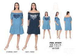 48 Units of Rayon Dress Three Quarter Sleeve Cold Shoulder Tie Dye - Womens Sundresses & Fashion