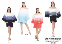 48 Units of Rayon Dip Dye Off Shoulder Bubble Sleeves Short Dress - Womens Sundresses & Fashion