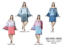 48 Units of Rayon Off Shoulder Bell Sleeve Dress - Womens Sundresses & Fashion