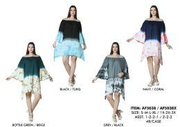 48 Units of Rayon Off Shoulder Bell Sleeve Dress Shark Bite - Womens Sundresses & Fashion