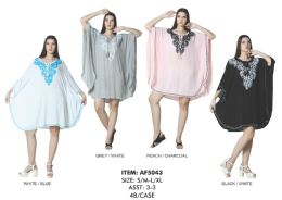48 Units of Rayon Solid Caftan Style With Embd. - Womens Sundresses & Fashion