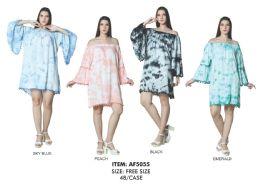 48 Units of Rayon Bell Sleeve Dress with Pom Pom Dress - Womens Sundresses & Fashion