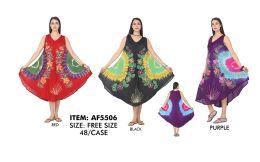 48 Units of RAYON Tie Dye with Pattern Umbrella Dress - Womens Sundresses & Fashion