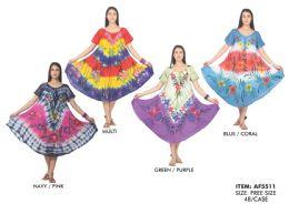 48 Units of Tie Dye Rayon Dress with Chiffon Sleeve - Womens Sundresses & Fashion
