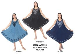 48 Units of Rayon Denim Wash Dress with Embroidered - Womens Sundresses & Fashion