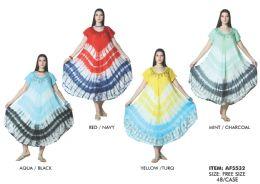 48 Units of Short Sleeve Tie Dye Rayon Dress - Womens Sundresses & Fashion