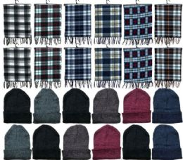 288 Units of Yacht & Smith Unisex Warm Winter Plaid Fleece Scarfs Size 60x12 And Assorted Color Beanies Set Bulk Buy - Winter Sets Scarves , Hats & Gloves