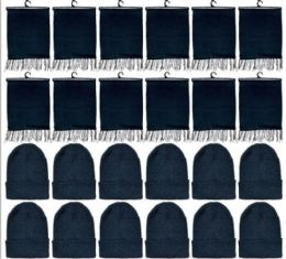288 Units of Yacht & Smith Solid Black Color Warm Winter Fleece Scarves And Black Beanie Set BULK BUY - Winter Sets Scarves , Hats & Gloves