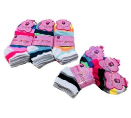 60 Units of Ladies/teen Anklets 9-11 [wide Stripes] - Womens Ankle Sock