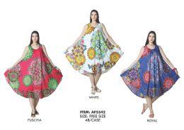 48 Units of Rayon Printed Dye Dress - Womens Sundresses & Fashion