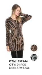 36 Units of Leopard Print Long Sleeve Sweater Tunic - Womens Sweaters & Cardigan
