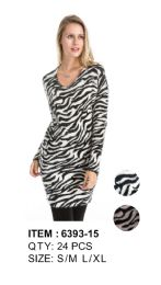24 Units of Leopard Print Long Sleeve Sweater Tunic - Womens Sweaters & Cardigan