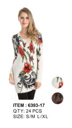 24 Units of Floral Printed Long Sleeve Sweater Tunic - Womens Sweaters & Cardigan