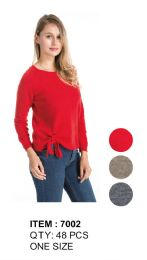 48 Units of Women Solid Color Sweater With Tie - Womens Sweaters & Cardigan