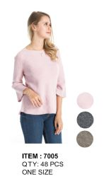 48 Units of Women Solid Three Quarter Sleeve Ribbed Sweater - Womens Sweaters & Cardigan