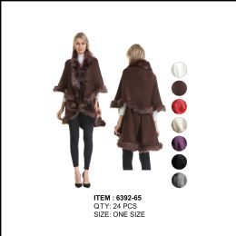 24 Units of Fur Poncho Cape - Winter Pashminas and Ponchos