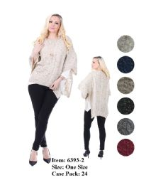 24 Units of Womens Stylish Poncho Sweater - Winter Pashminas and Ponchos