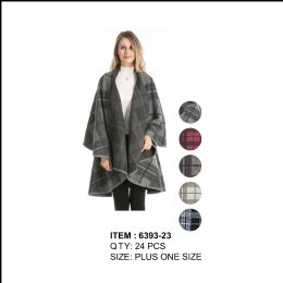 24 Units of Womens Stylish Plaid Double Layer Cape Poncho - Winter Pashminas and Ponchos