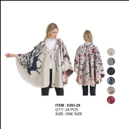 24 Units of Womens Stylish Cape Poncho With Rein Deer - Winter Pashminas and Ponchos