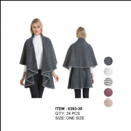 24 Units of Hound tooth Double Layer Cape Poncho - Winter Pashminas and Ponchos