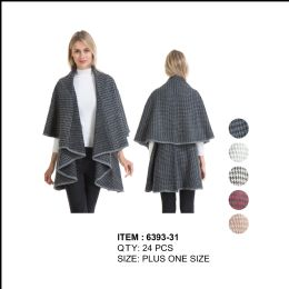 24 Units of Hound tooth Double Layer Cape Poncho Plus Size - Winter Pashminas and Ponchos