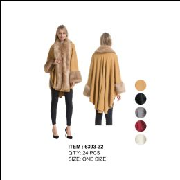 24 Units of Poncho with Fur Around Long Collar And Cuff - Winter Pashminas and Ponchos