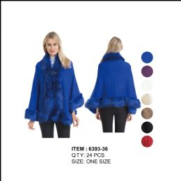 24 Units of Poncho Cape Textured with Fur Trim - Winter Pashminas and Ponchos