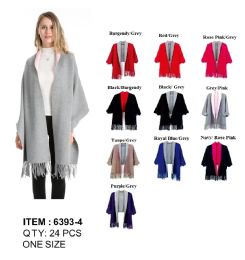 24 Units of 2 Tone Cape with Sleeve And Fringes - Winter Pashminas and Ponchos