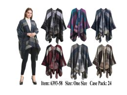 24 Units of Womens Stylish Poncho Cape - Winter Pashminas and Ponchos