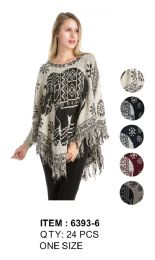 24 Units of Poncho Sweater Elephant Pattern - Winter Pashminas and Ponchos