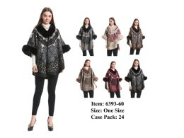 24 Units of Women Stylish Poncho with Fur - Winter Pashminas and Ponchos