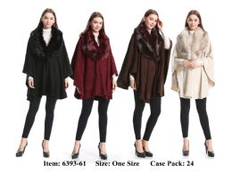 24 Units of Poncho With Heavy Fur Neck - Winter Pashminas and Ponchos