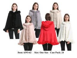 24 Units of Womens Poncho Cape With Hoody And Fur Trim - Winter Pashminas and Ponchos