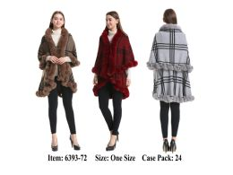 24 Units of Womens Plaid Poncho Cape Double Layer With Fur Trim - Winter Pashminas and Ponchos