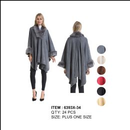 24 Units of Womens Plus Size Poncho/Cape Textured with Fur Trim - Winter Pashminas and Ponchos