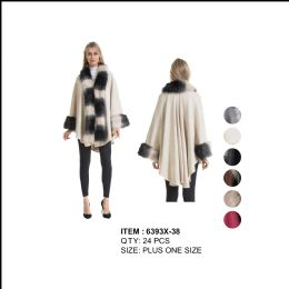 24 Units of Womens Plus Size Poncho with Heavy 3 Tone Fur Around Long Collar And Cuff - Winter Pashminas and Ponchos