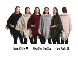 24 Units of Womens Knit Poncho Cape Fur Neck Trim - Winter Pashminas and Ponchos