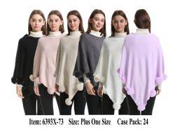 24 Units of Womens Plus Size Knit Poncho Cape With Fur Pom Pom On Hem - Winter Pashminas and Ponchos