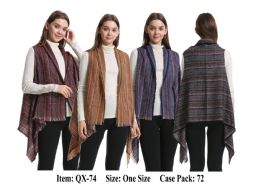 72 Units of Womens Multi Color Strip Vest Scarf - Winter Pashminas and Ponchos