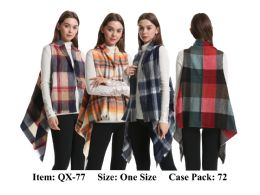 72 Units of Womens Buffalo Plaid Multi Color Vest Scarf - Winter Pashminas and Ponchos