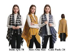 72 Units of Womens Small Plaid Vest Scarf - Winter Pashminas and Ponchos