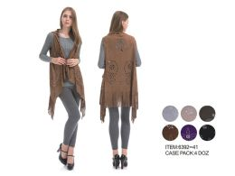 48 Units of Womens Laser Cut Vest - Winter Pashminas and Ponchos