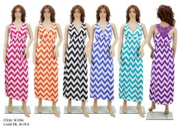 96 Units of Woman's Zigzag Print Palazzo Dress - Womens Sundresses & Fashion