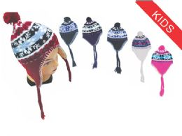 72 Units of Kid's Snowflake Helmet Hat - Winter Helmet Hats